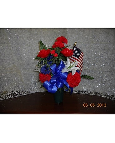 Grave Vases-Patriotic Flower Arrangement