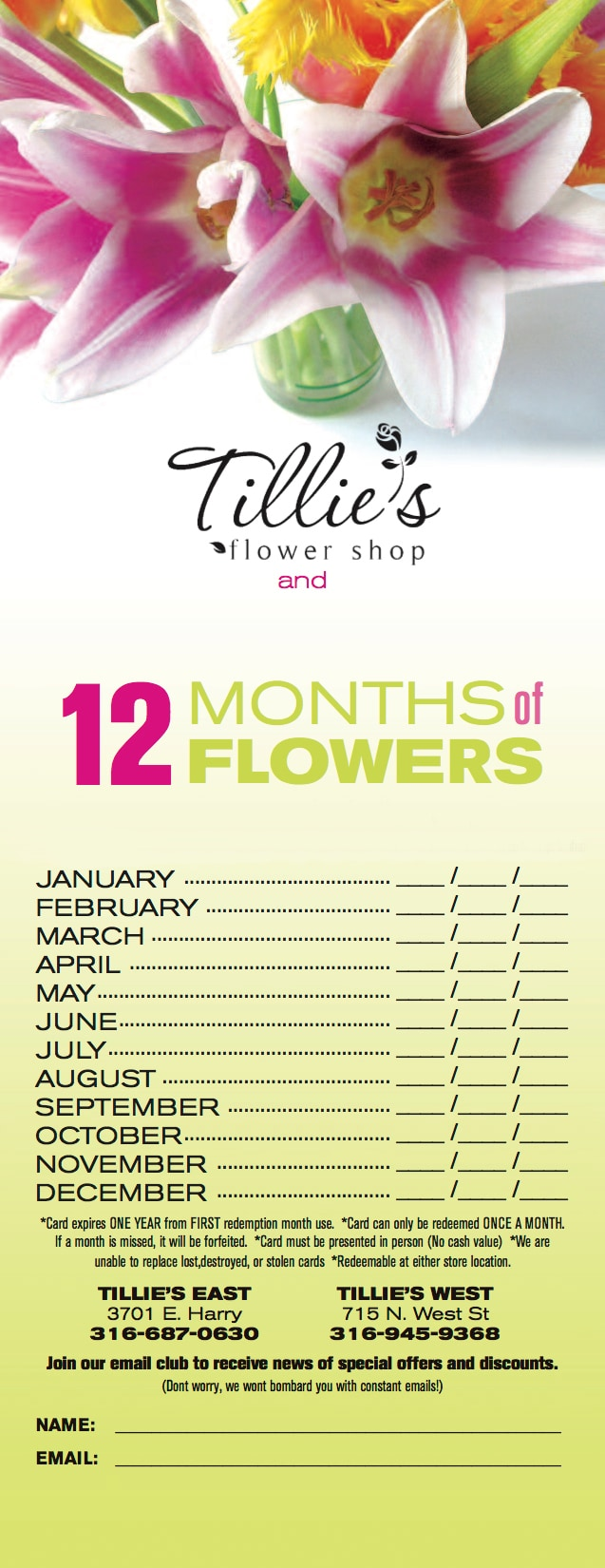 12 Months of Flowers Card