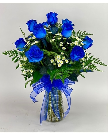 Blue Dyed Roses<br>Local Delivery Only Flower Arrangement