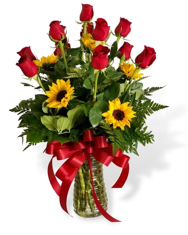 Sunflowers & Roses Flower Arrangement