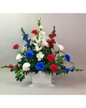 Patriotic Sympathy Basket - Artificial Arrangement Funeral Arrangement