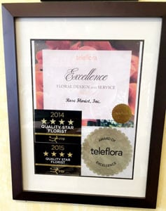 FTD Quality Star Florist and Teleflora Award of Excellence