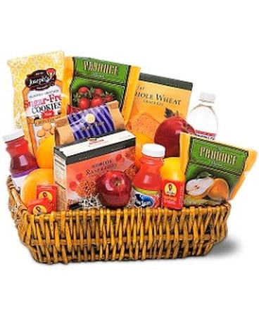 Healthy Gourmet Basket Flower Arrangement
