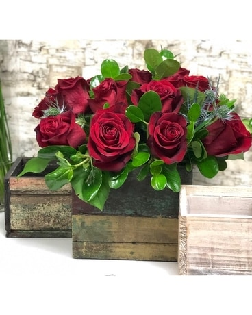 Red Roses in Wooden Box Flower Arrangement