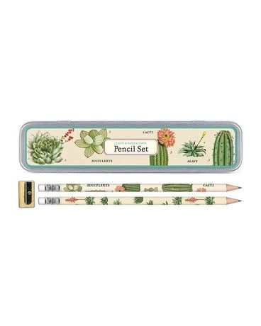 Vintage Cacti Succulent Pencil Gift Set Gifts