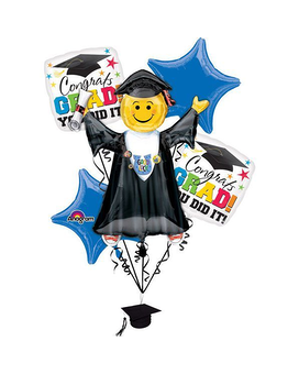 Graduation Smiley Face Balloon Bouquet