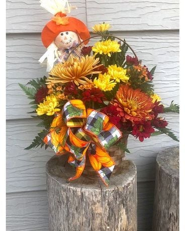 Fall Flower Basket Flower Arrangement