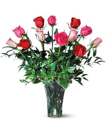 A Dozen Multi-Colored Roses Flower Arrangement