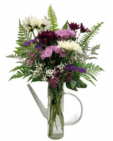 White Oak's Glass Watering Can Delight Flower Arrangement