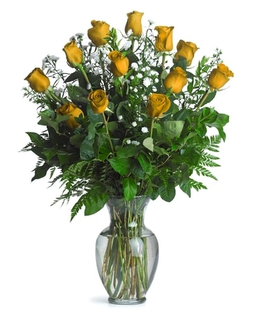 One Dozen Long Stem Yellow Roses Flower Arrangement