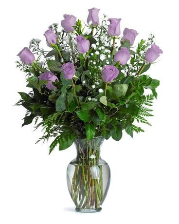 One Dozen Long Stemmed Lavender Roses Flower Arrangement