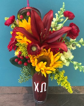 Chi Omega Blooming Water Tumbler Specialty Arrangement
