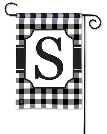 Black & White Check Monogram S Garden Flag Custom product