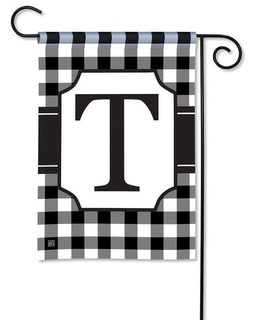 Black & White Check Monogram T Garden Flag Custom product