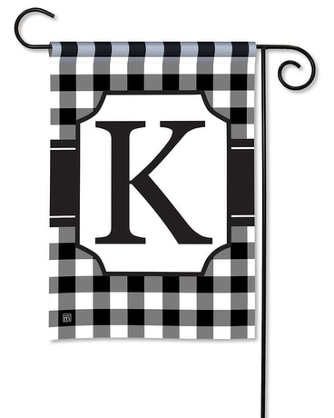 Black & White Check Monogram K Garden Flag Custom product