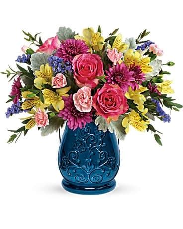 Teleflora's Burst Of Blue Bouquet Flower Arrangement
