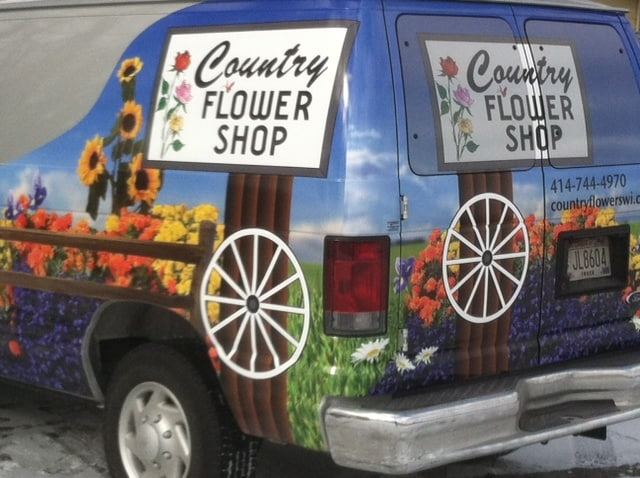 Flower delivery van from Country Flower Shop in Cudahy WI.