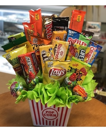 Junk Food Basket Flower Arrangement