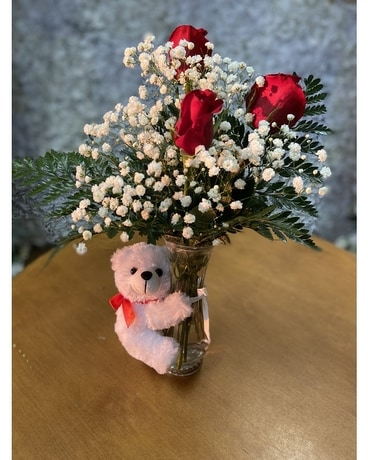 Roses and Cuddles Flower Arrangement