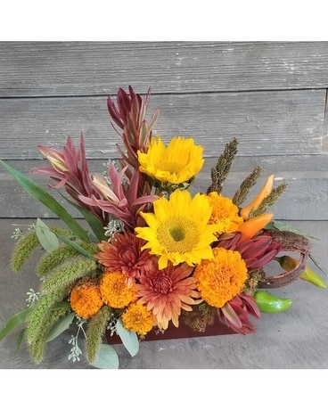 Sunny Fall Display Flower Arrangement