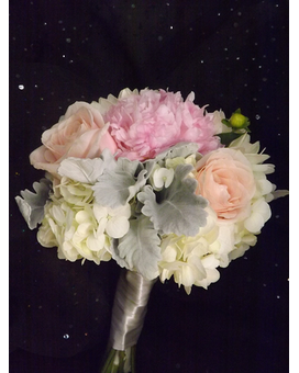 White and Pink Hydrangea Bouquet Flower Arrangement