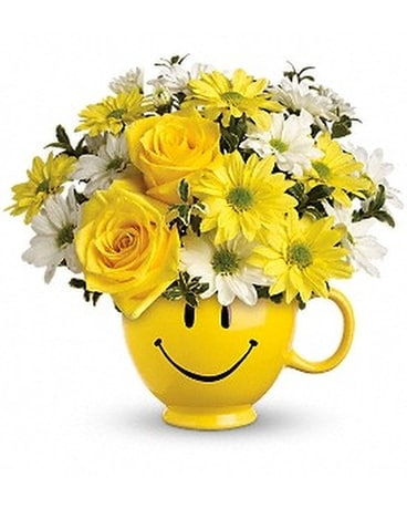 Be Happy Mug Flower Arrangement