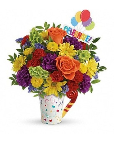 Celebrate You Mug Flower Arrangement