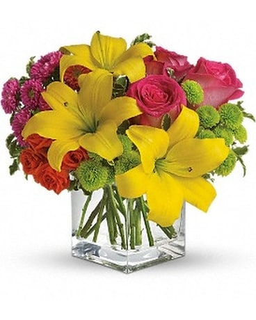 Sunsplash Cube Flower Arrangement