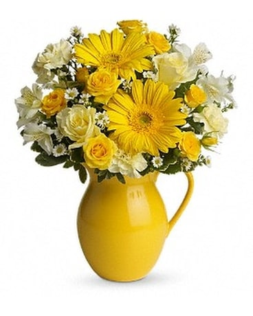 Teleflora's Sunny Day Pitcher of Cheer Flower Arrangement