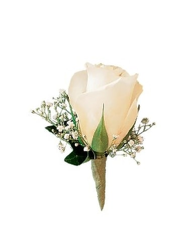 White Rose and Baby's Breath Boutonniere