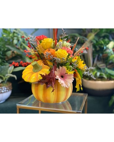 Jersey Shore Pumpkin Flower Arrangement