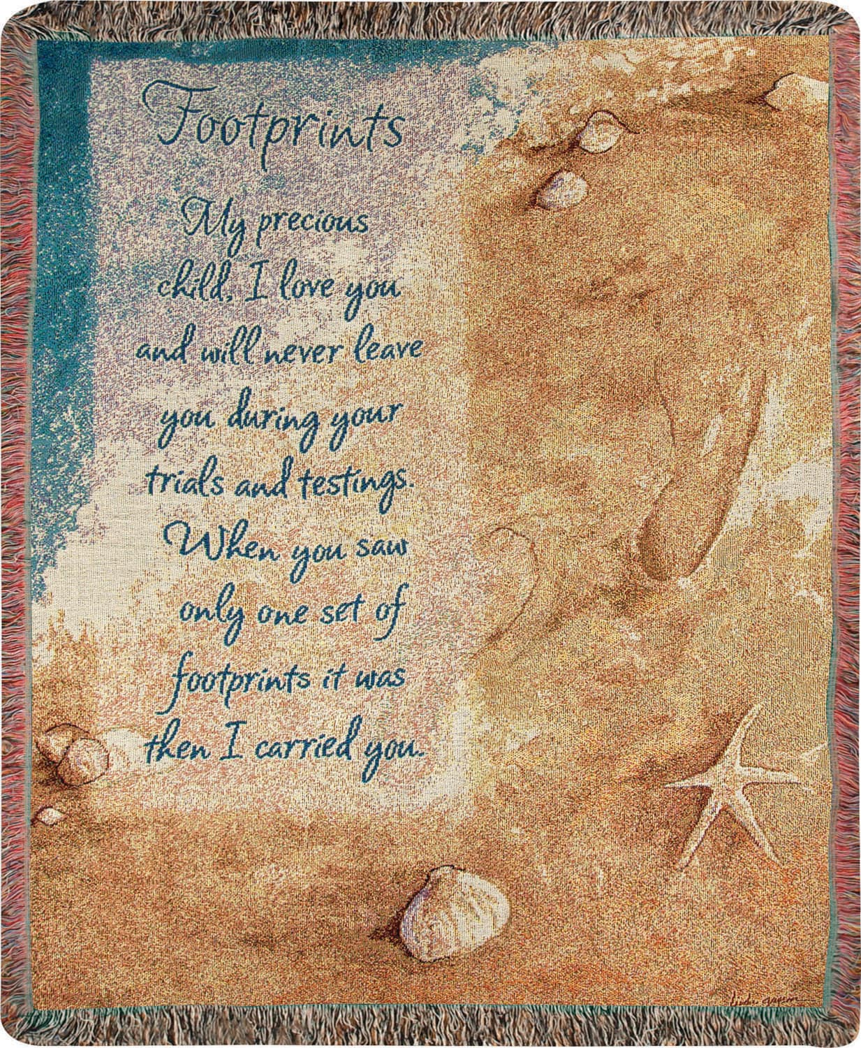 Footprints Tapestry Throw Gifts