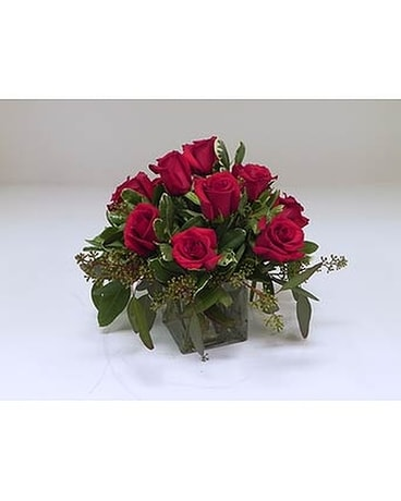 Fiery Red Roses Flower Arrangement