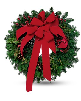 Wreath with Red Velvet Bow Flower Arrangement