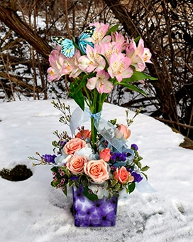 Spring Butterfly Flower Arrangement