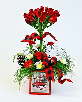 Tartan Topiary Flower Arrangement