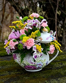 Mariposa Teapot Flower Arrangement