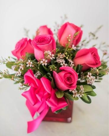 Quick View Hot Pink Roses Flower Arrangement