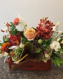 Cigar Box Flower Arrangement