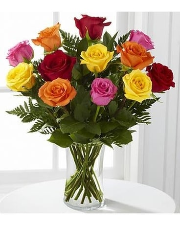 One Dozen Tropical Roses