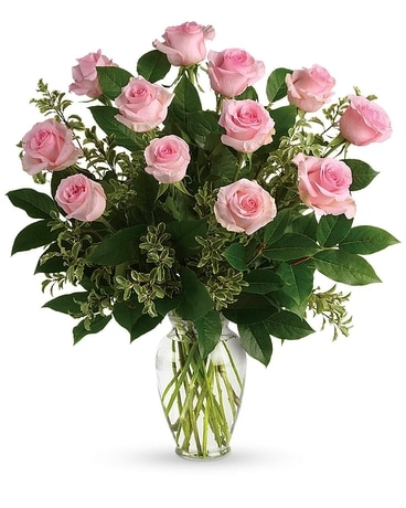 Say Something Sweet Pink Roses Flower Arrangement