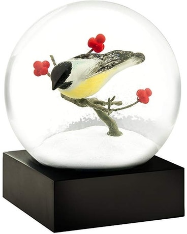 Chickadee Snow Globe Flower Arrangement