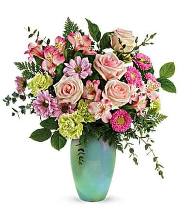 Enamored With Aqua Bouquet Flower Arrangement