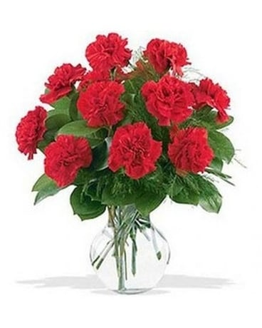 Classic Red Carnation Bouquet Flower Arrangement