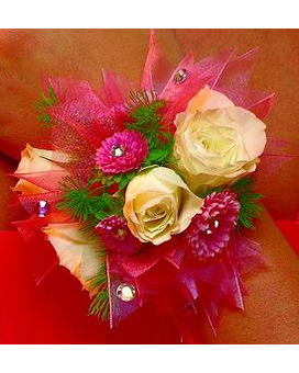 Pink Sparkle Corsage Flower Arrangement