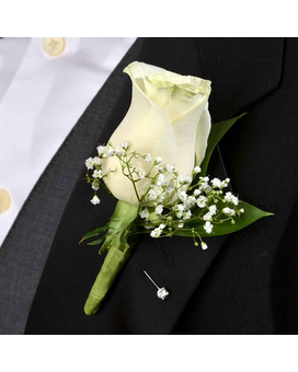 Classic White Rose Boutonniere Boutonniere