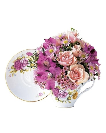 Pink Rose Teacup Flower Arrangement