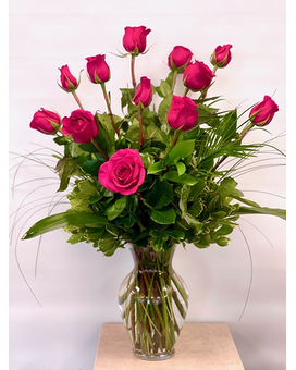 Hot Pink Roses Flower Arrangement