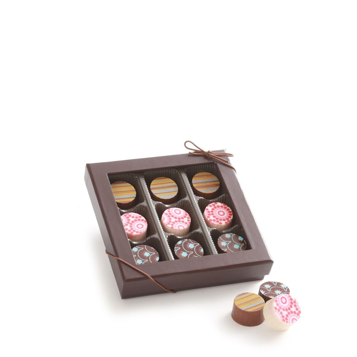 9 Piece Artisan Truffle Box + Happy Birthday Square
