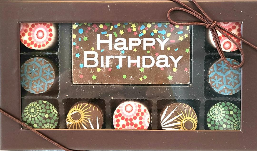 9 Piece Artisan Truffle Box + Happy Birthday Square 5.9 oz